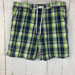 Old Navy Blue Lime Green Plaid Swim Trunks